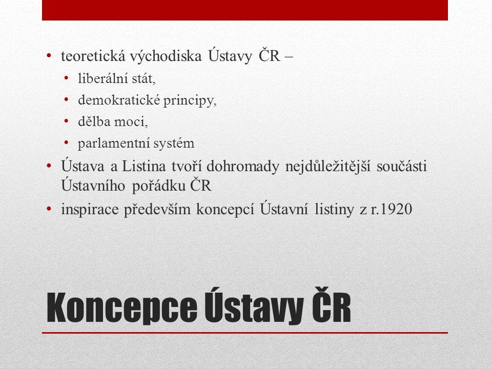 Koncepce Ústavy ČR teoretická východiska Ústavy ČR –