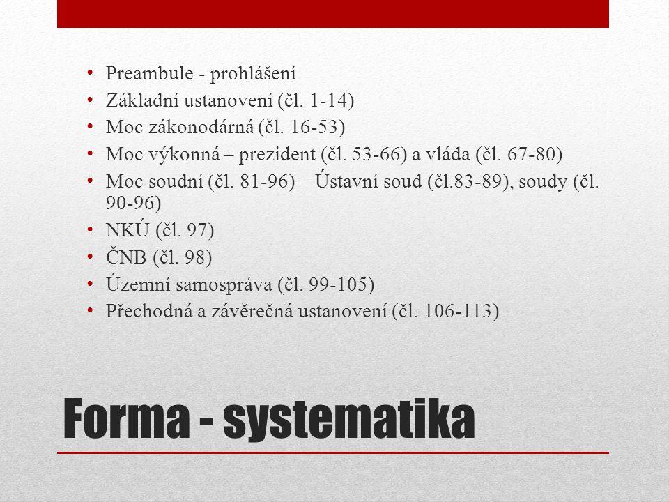 Forma - systematika Preambule - prohlášení