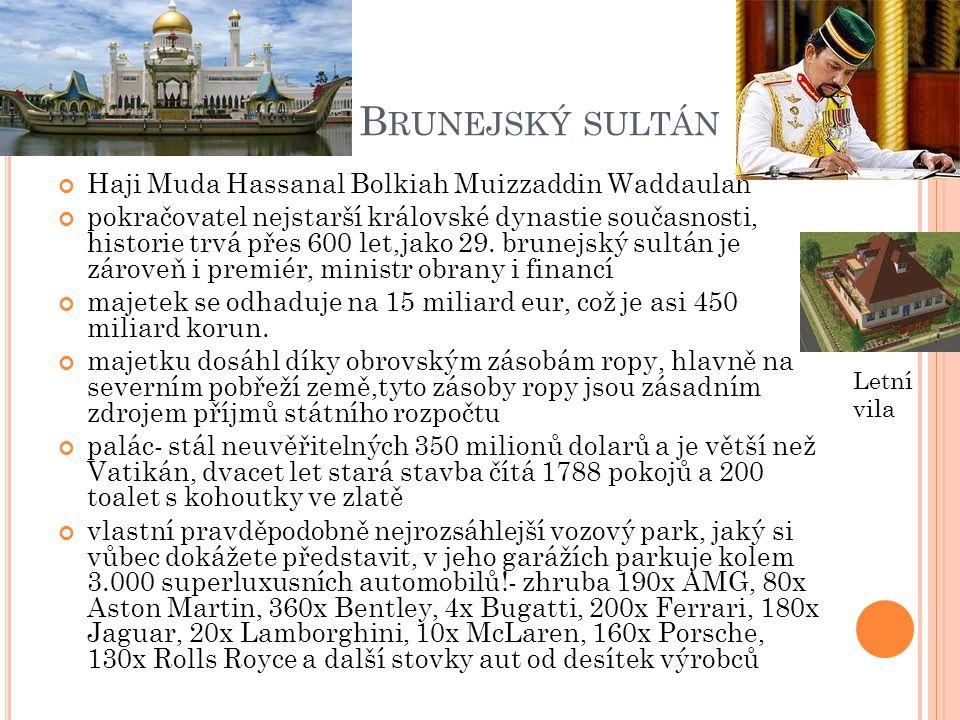 Brunejský sultán Haji Muda Hassanal Bolkiah Muizzaddin Waddaulah
