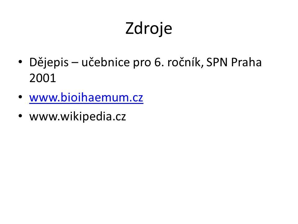 Zdroje Dějepis – učebnice pro 6. ročník, SPN Praha 2001