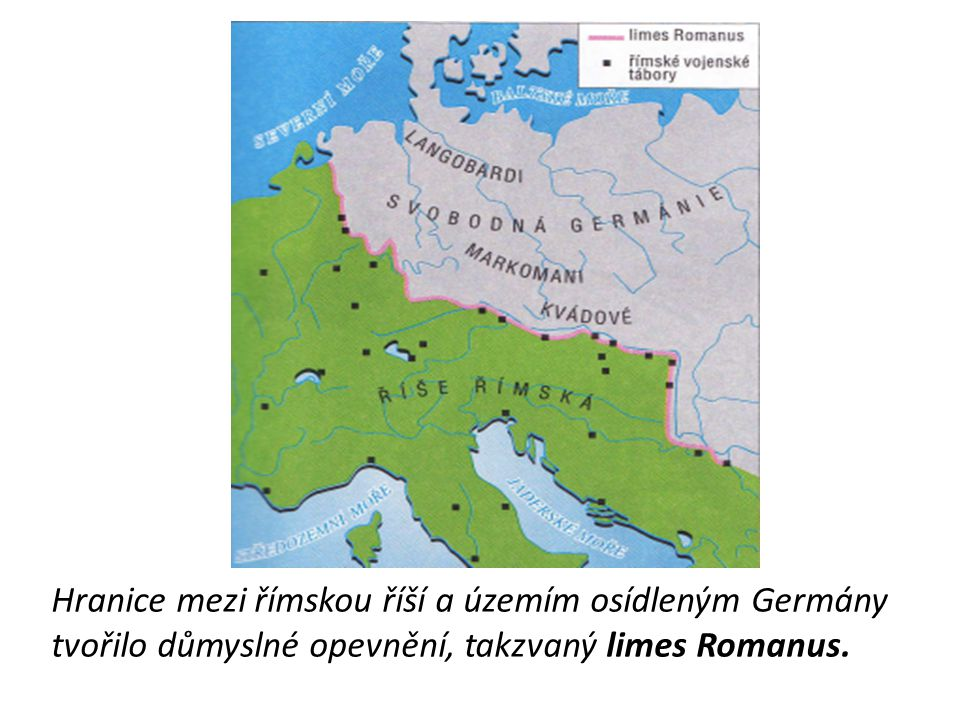 Hranice mezi římskou říší a územím osídleným Germány tvořilo důmyslné opevnění, takzvaný limes Romanus.