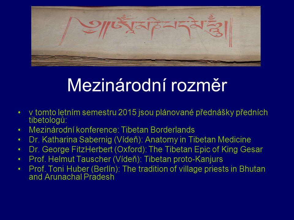Mezinárodní rozměr v tomto letním semestru 2015 jsou plánované přednášky předních tibetologů: Mezinárodní konference: Tibetan Borderlands.