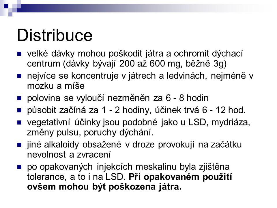 Distribuce velké dávky mohou poškodit játra a ochromit dýchací centrum (dávky bývají 200 až 600 mg, běžně 3g)