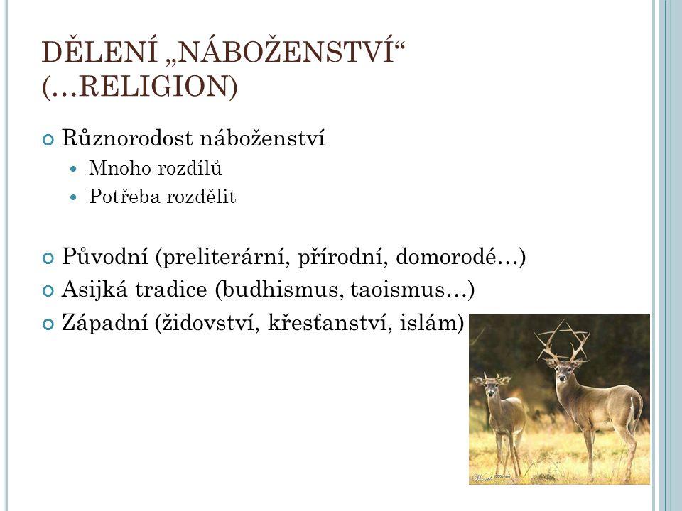 """DĚLENÍ """"NÁBOŽENSTVÍ (…RELIGION)"""