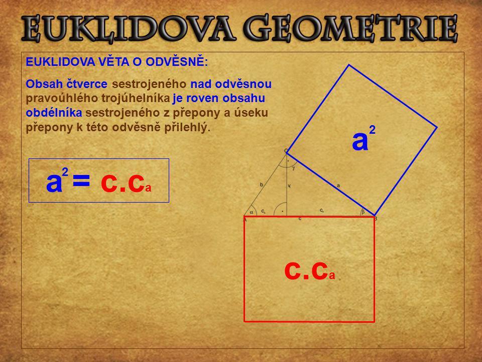 a a = c.ca c.ca EUKLIDOVA VĚTA O ODVĚSNĚ: