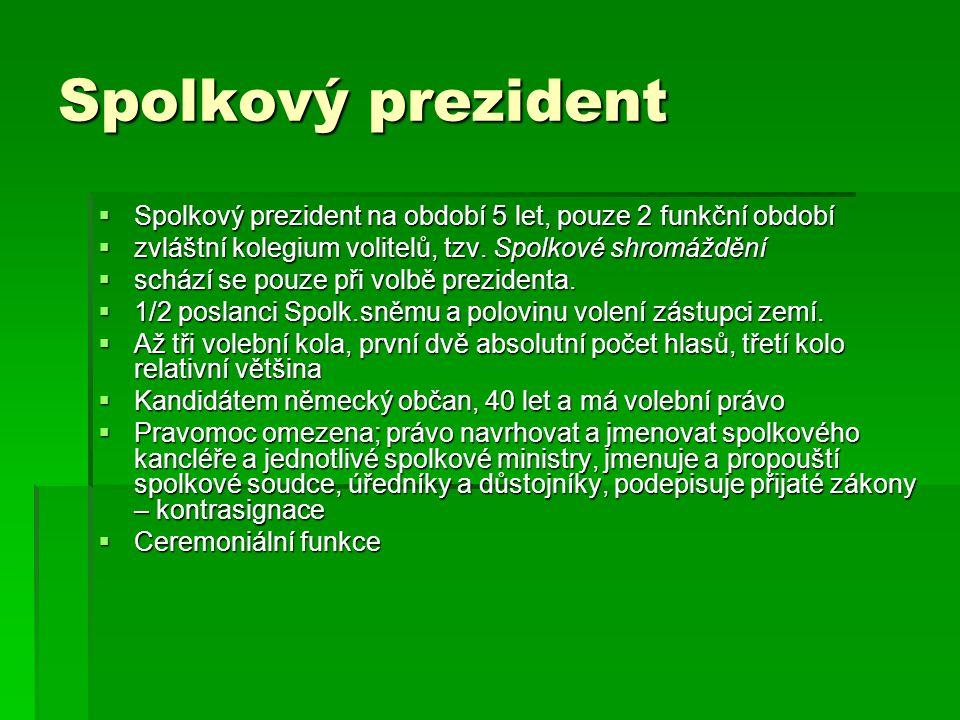 Spolkový prezident Spolkový prezident na období 5 let, pouze 2 funkční období. zvláštní kolegium volitelů, tzv. Spolkové shromáždění.