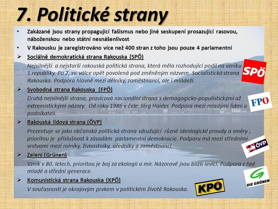 7. Politické strany Zakázané jsou strany propagující fašismus nebo jiné seskupení prosazující rasovou, náboženskou nebo státní nesnášenlivost.