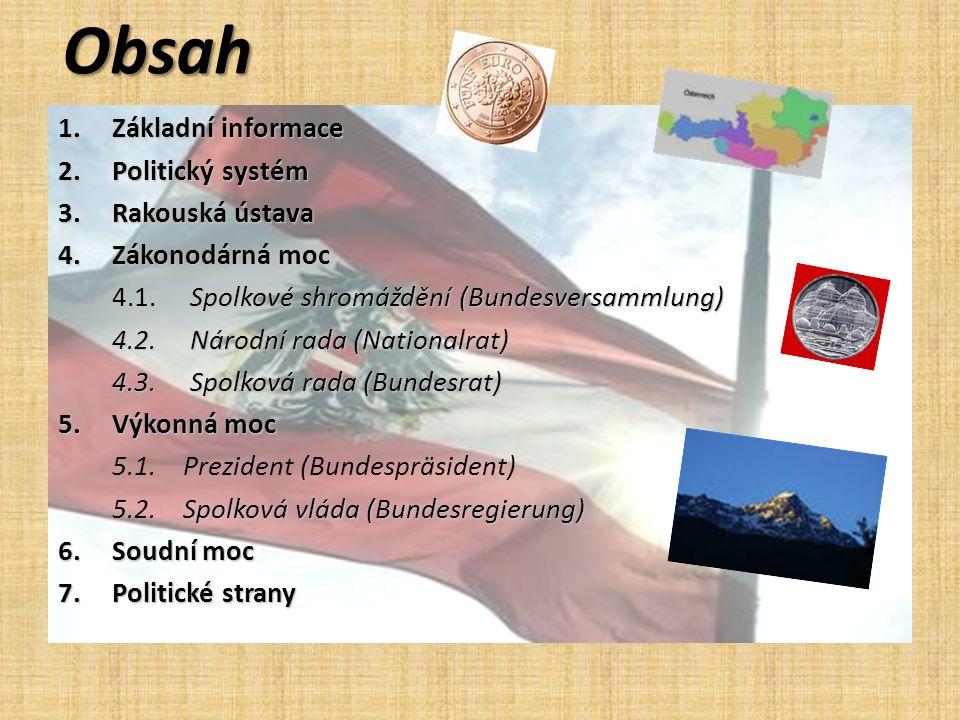 Obsah Základní informace Politický systém Rakouská ústava