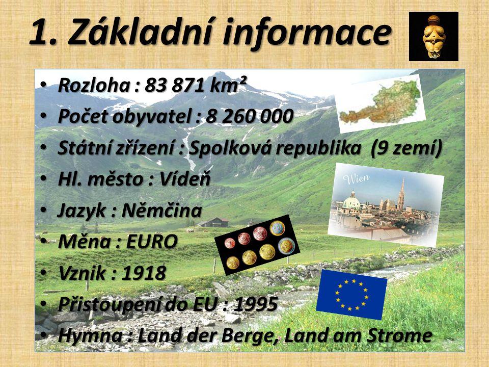1. Základní informace Rozloha : 83 871 km² Počet obyvatel : 8 260 000
