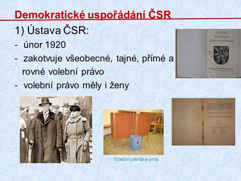Demokratické uspořádání ČSR 1) Ústava ČSR: