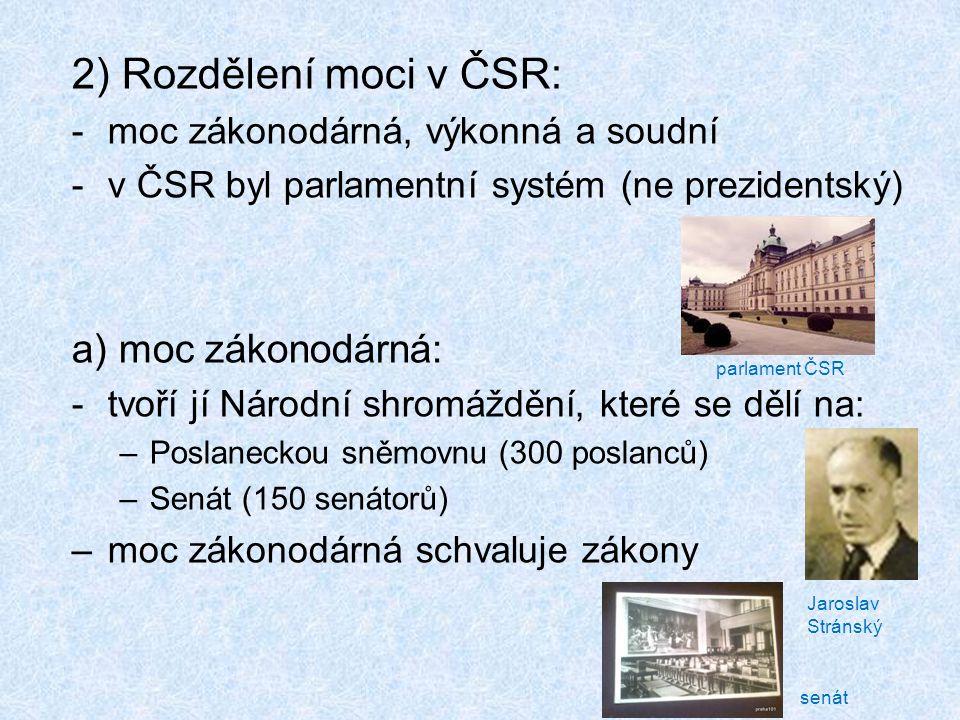 2) Rozdělení moci v ČSR: a) moc zákonodárná: