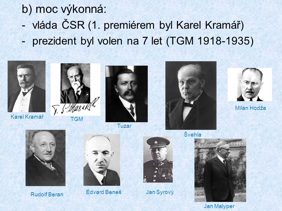 b) moc výkonná: vláda ČSR (1. premiérem byl Karel Kramář)