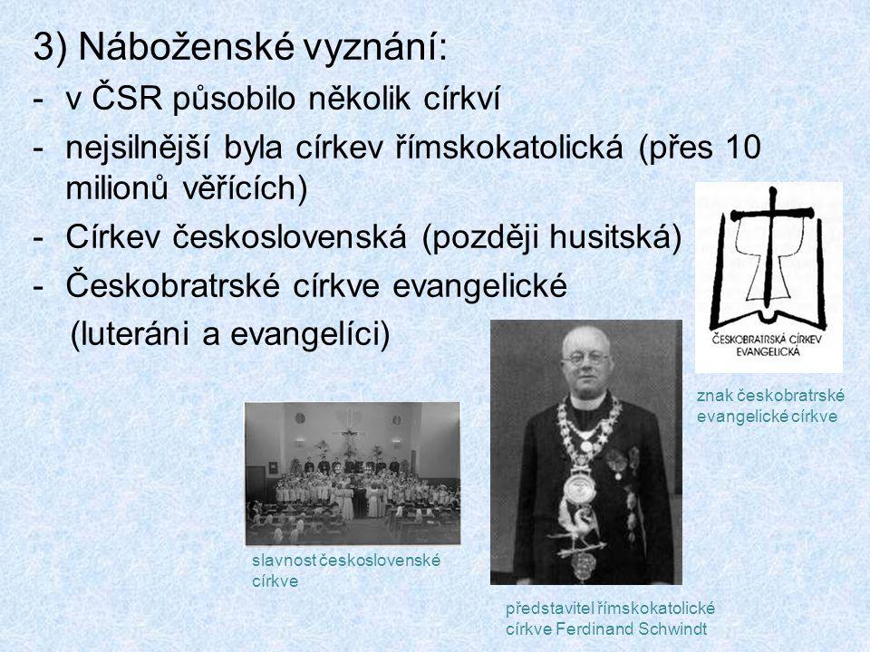 3) Náboženské vyznání: v ČSR působilo několik církví