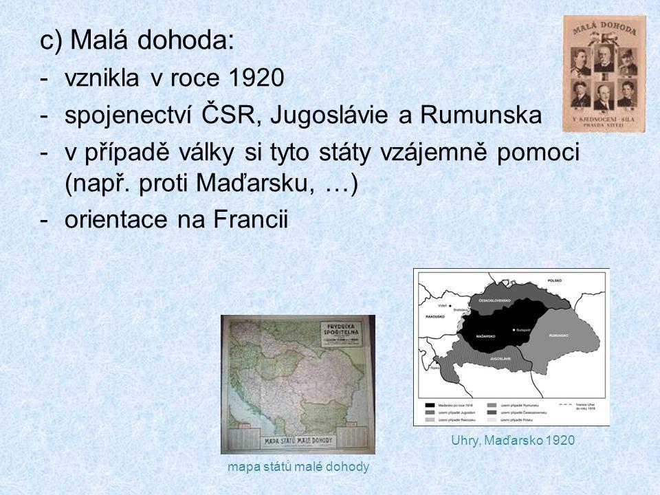 c) Malá dohoda: vznikla v roce 1920