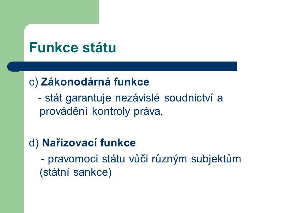 Funkce státu c) Zákonodárná funkce