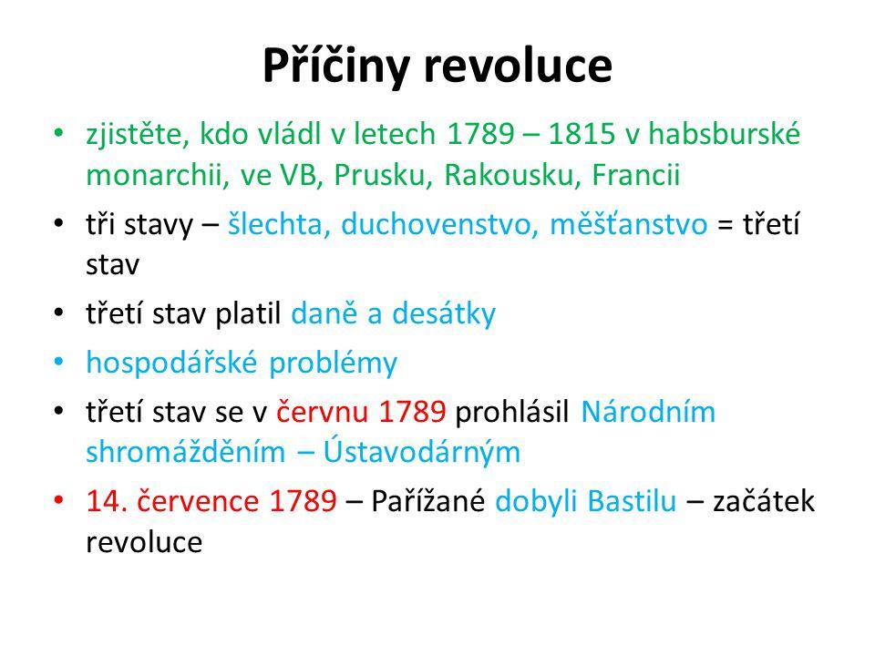 Příčiny revoluce zjistěte, kdo vládl v letech 1789 – 1815 v habsburské monarchii, ve VB, Prusku, Rakousku, Francii.