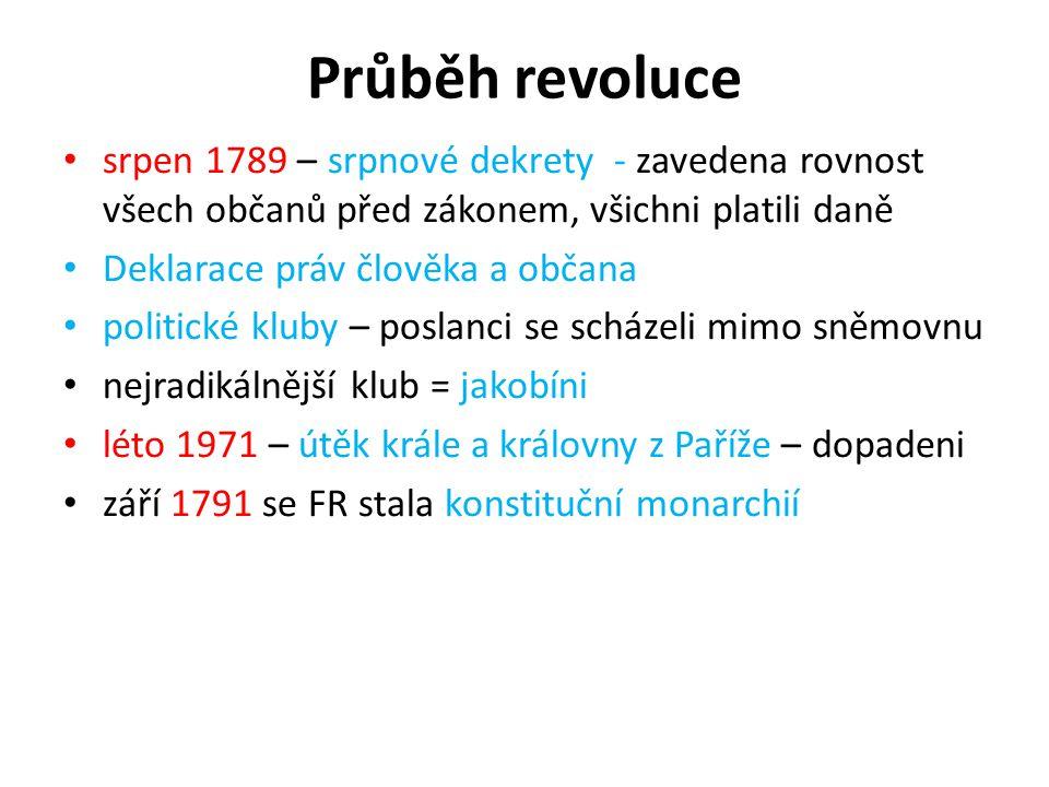 Průběh revoluce srpen 1789 – srpnové dekrety - zavedena rovnost všech občanů před zákonem, všichni platili daně.