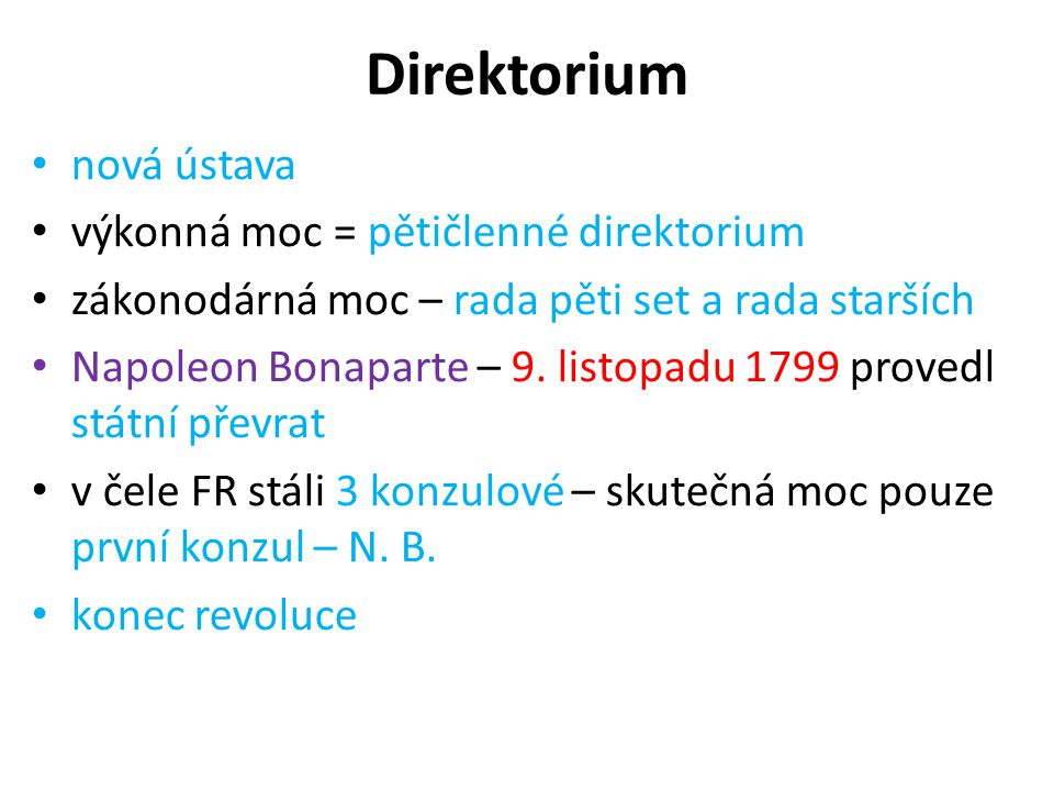 Direktorium nová ústava výkonná moc = pětičlenné direktorium
