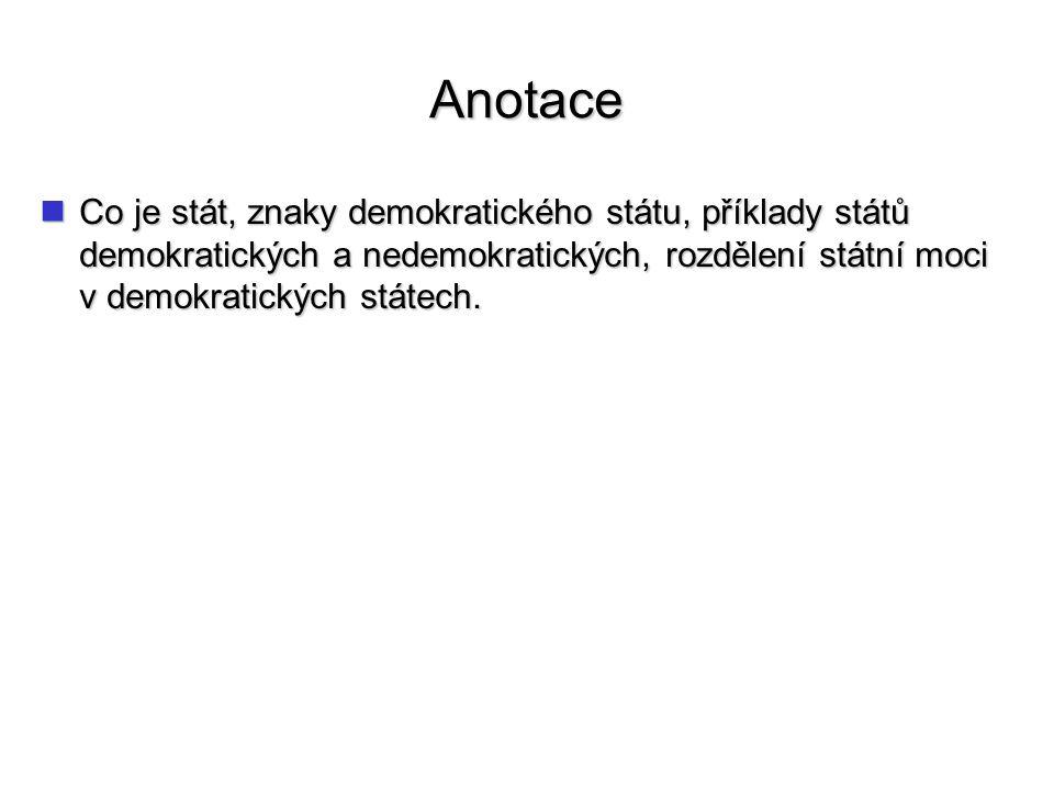 Anotace Co je stát, znaky demokratického státu, příklady států demokratických a nedemokratických, rozdělení státní moci v demokratických státech.