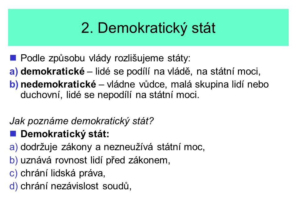 2. Demokratický stát Podle způsobu vlády rozlišujeme státy: