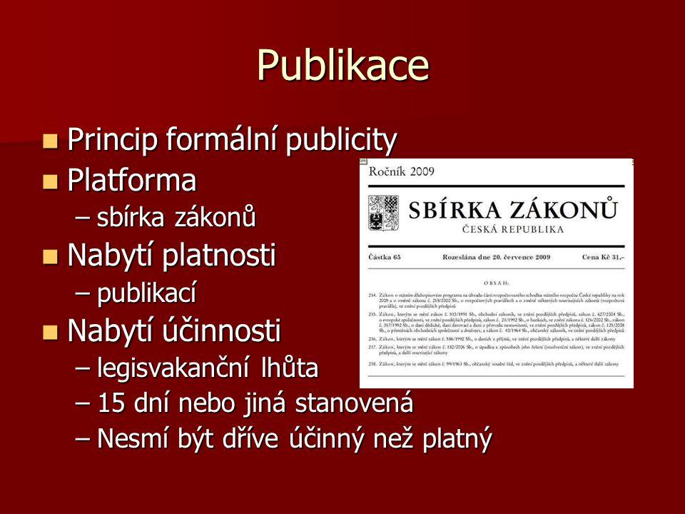 Publikace Princip formální publicity Platforma Nabytí platnosti