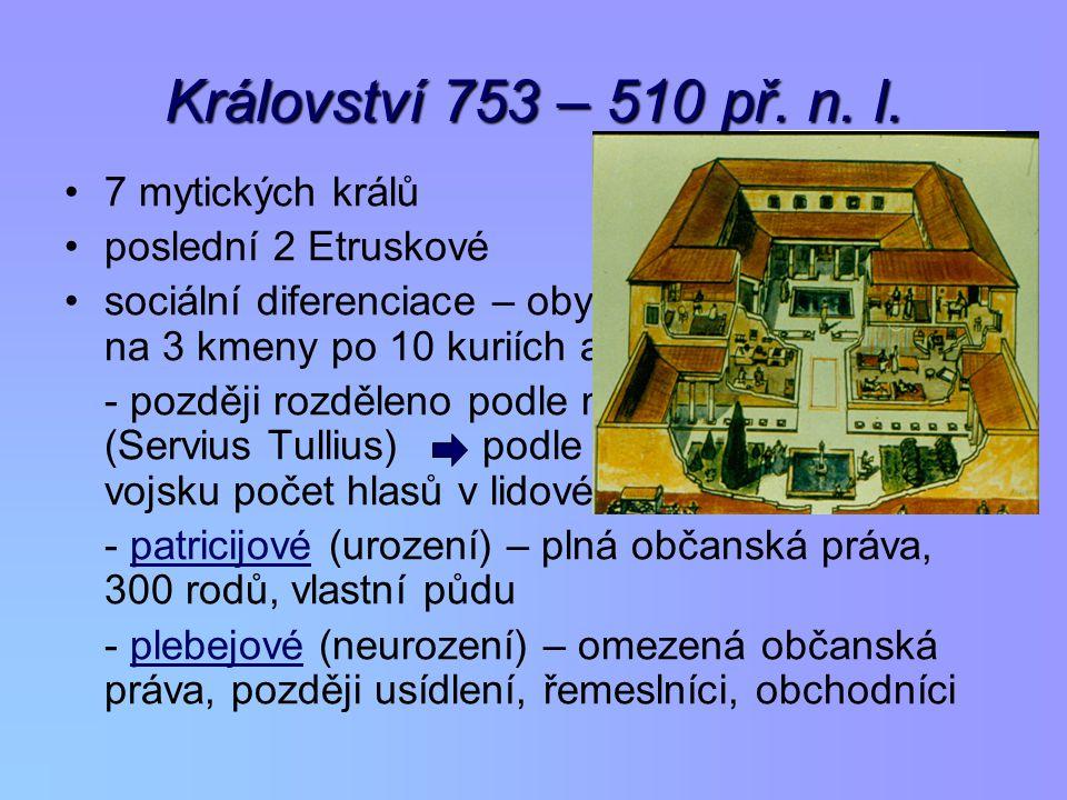 Království 753 – 510 př. n. l. 7 mytických králů poslední 2 Etruskové
