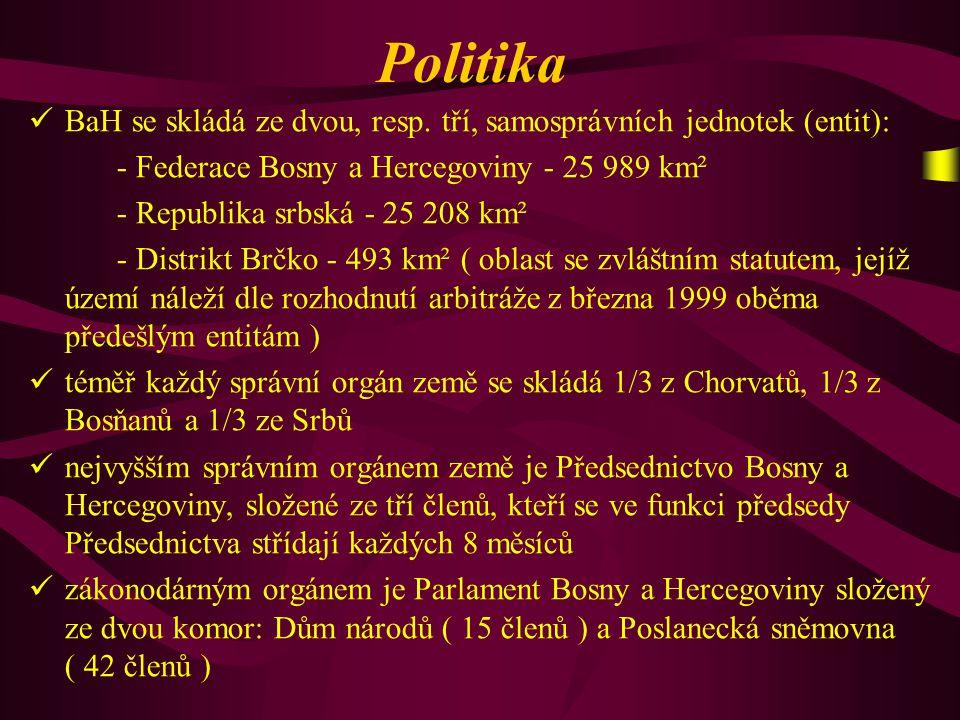 Politika BaH se skládá ze dvou, resp. tří, samosprávních jednotek (entit): - Federace Bosny a Hercegoviny - 25 989 km².