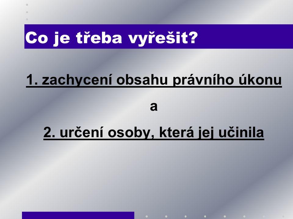 1. zachycení obsahu právního úkonu 2. určení osoby, která jej učinila