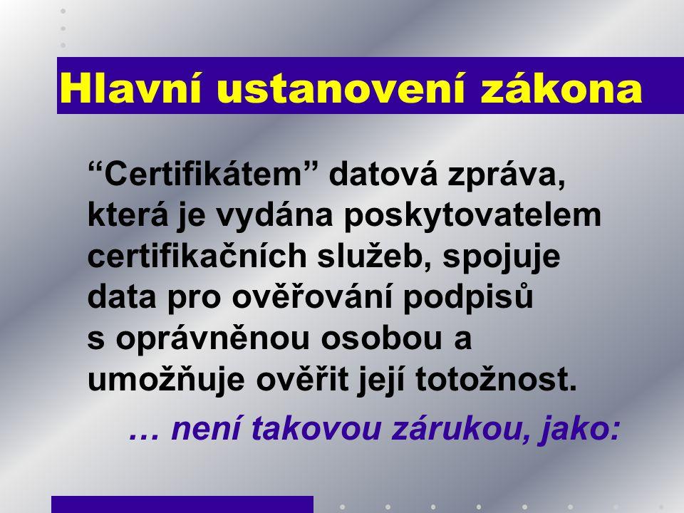 Hlavní ustanovení zákona