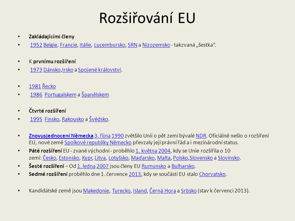 Rozšiřování EU Zakládajícími členy