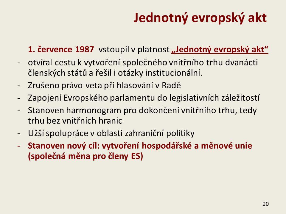 """Jednotný evropský akt 1. července 1987 vstoupil v platnost """"Jednotný evropský akt"""
