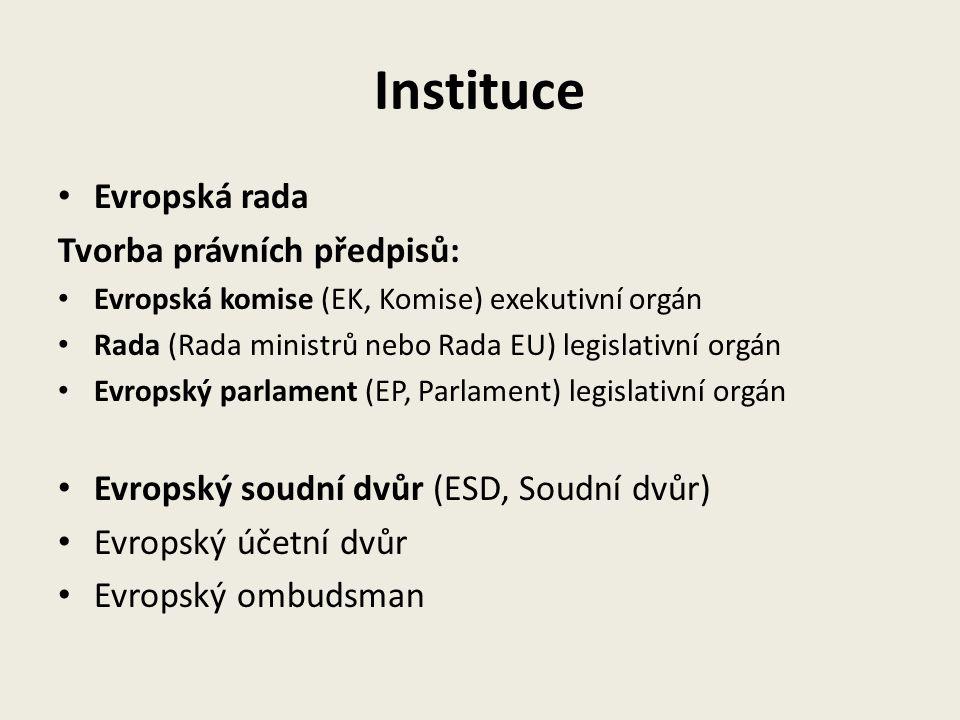 Instituce Evropská rada Tvorba právních předpisů: