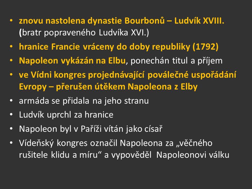 znovu nastolena dynastie Bourbonů – Ludvík XVIII