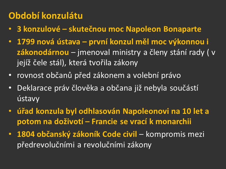 Období konzulátu 3 konzulové – skutečnou moc Napoleon Bonaparte