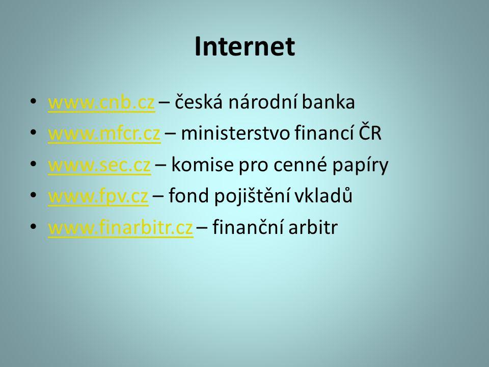 Internet www.cnb.cz – česká národní banka