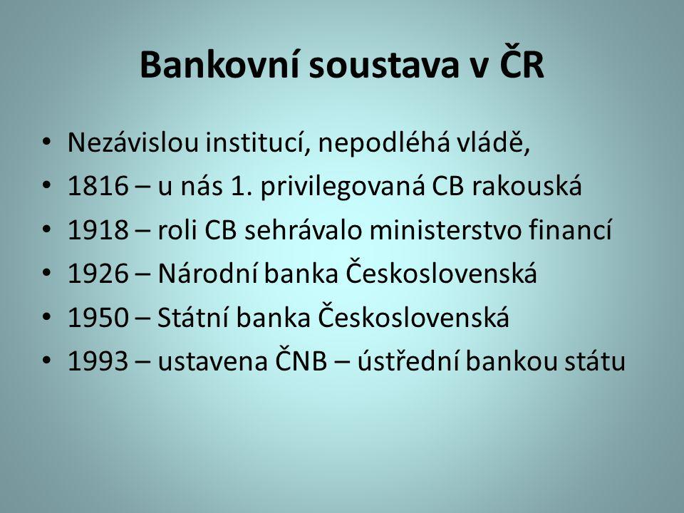 Bankovní soustava v ČR Nezávislou institucí, nepodléhá vládě,