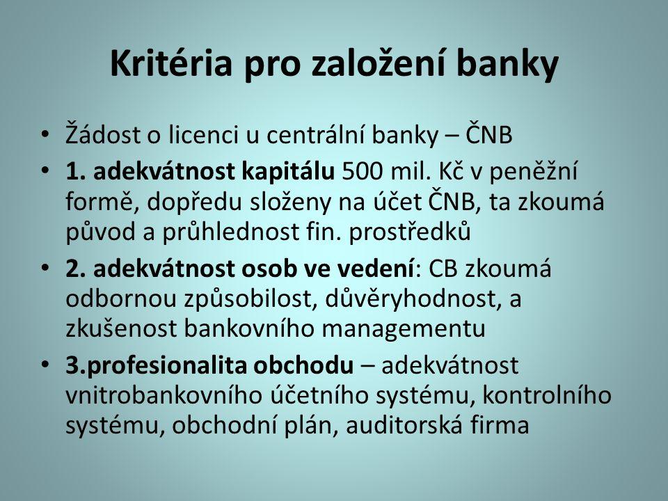 Kritéria pro založení banky