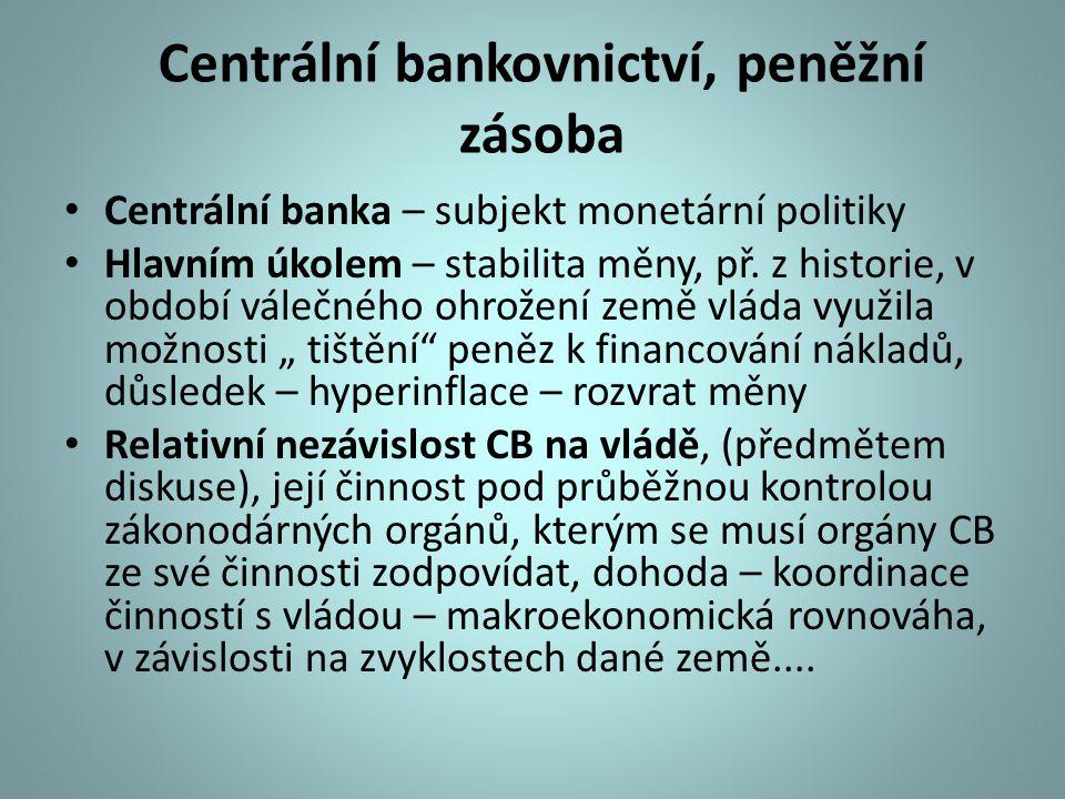 Centrální bankovnictví, peněžní zásoba