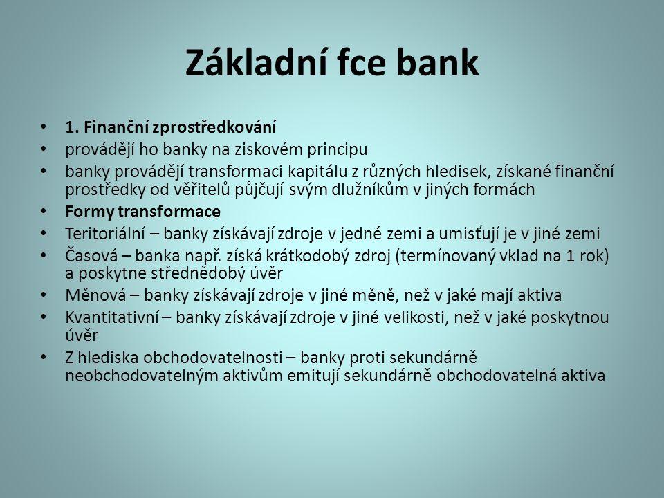 Základní fce bank 1. Finanční zprostředkování