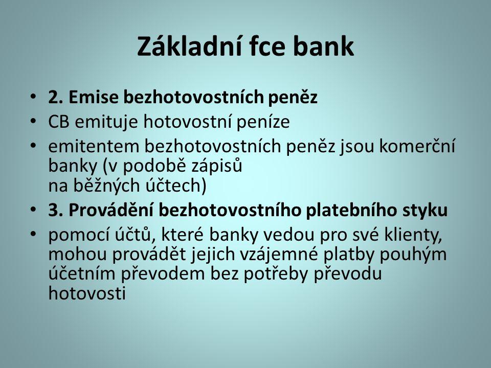 Základní fce bank 2. Emise bezhotovostních peněz