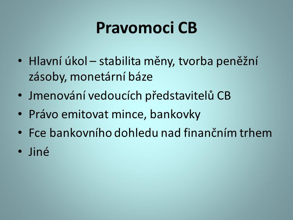 Pravomoci CB Hlavní úkol – stabilita měny, tvorba peněžní zásoby, monetární báze. Jmenování vedoucích představitelů CB.