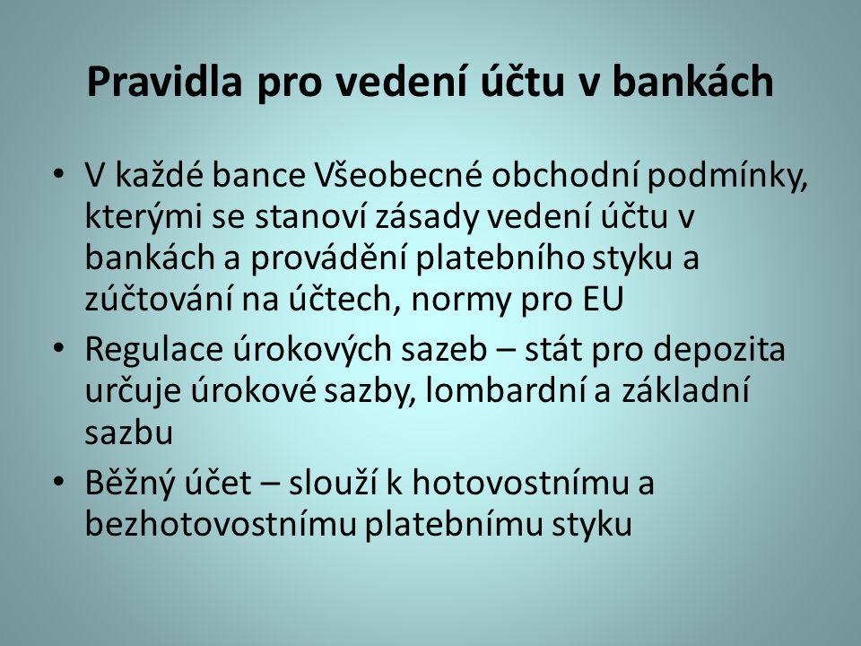 Pravidla pro vedení účtu v bankách