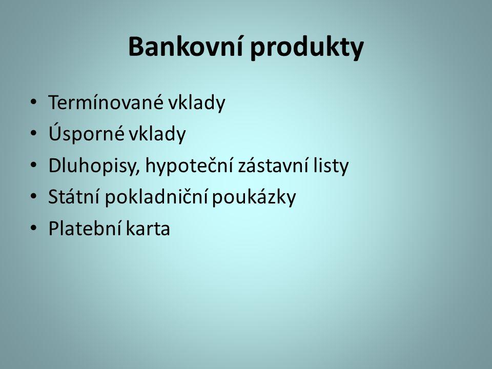 Bankovní produkty Termínované vklady Úsporné vklady