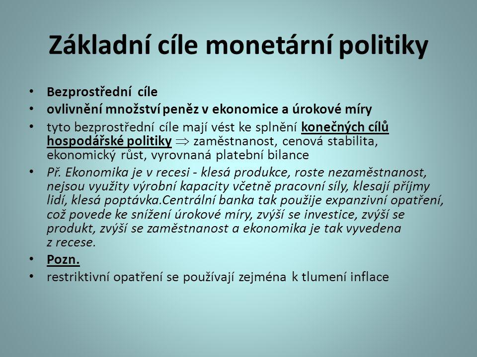 Základní cíle monetární politiky