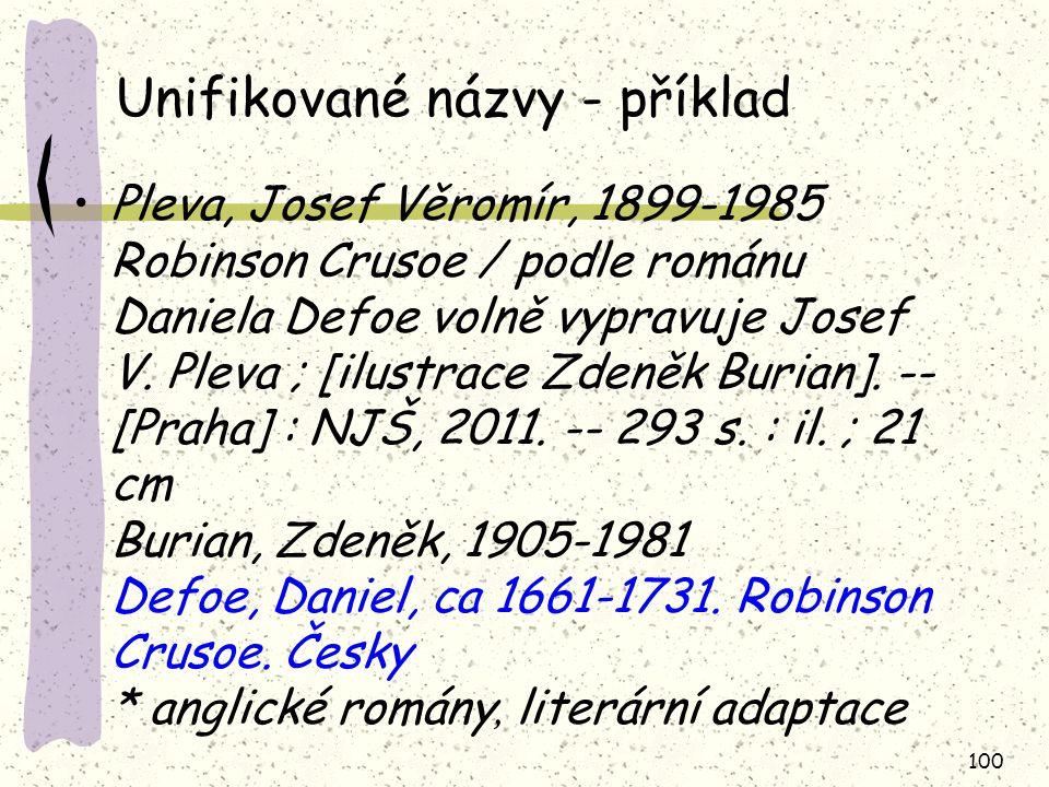 Unifikované názvy - příklad