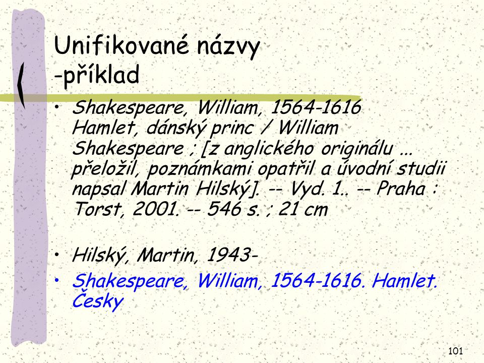 Unifikované názvy -příklad