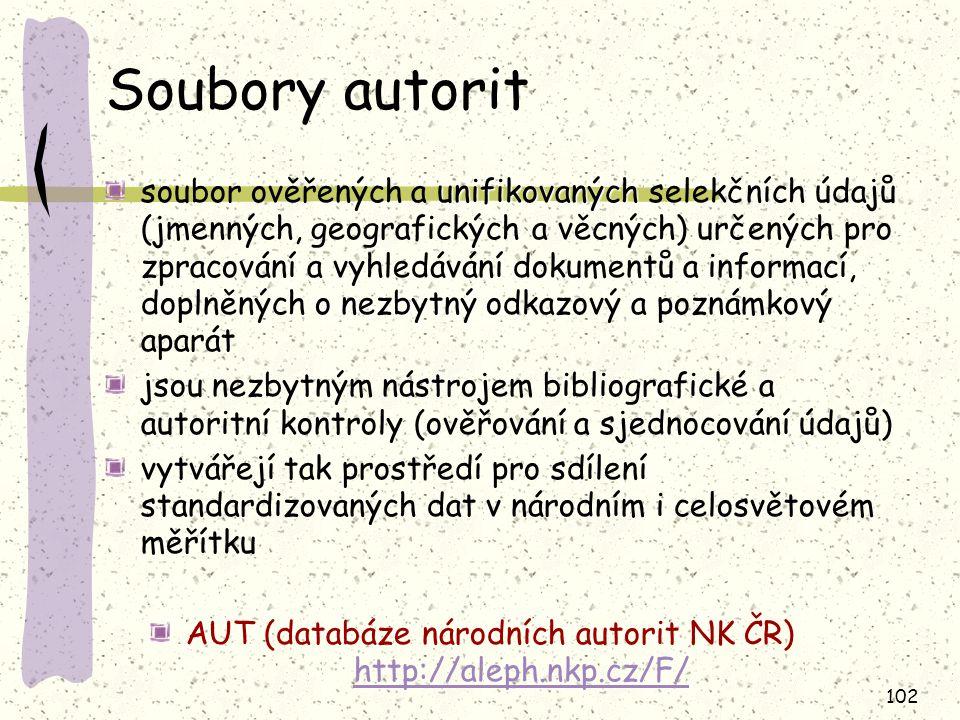 AUT (databáze národních autorit NK ČR) http://aleph.nkp.cz/F/