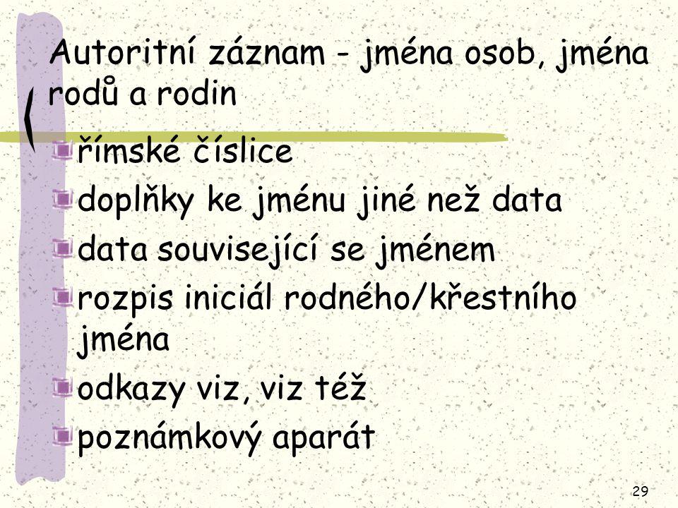 Autoritní záznam - jména osob, jména rodů a rodin