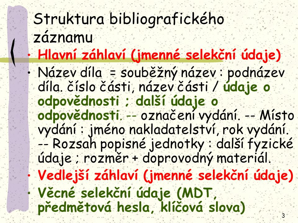 Struktura bibliografického záznamu