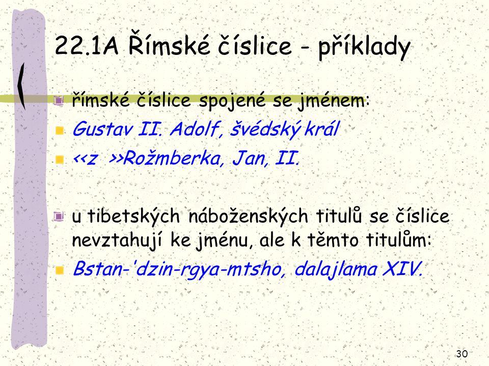 22.1A Římské číslice - příklady